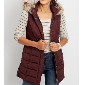 NWT MAURICES Burgundy Long Puffer Vest Small